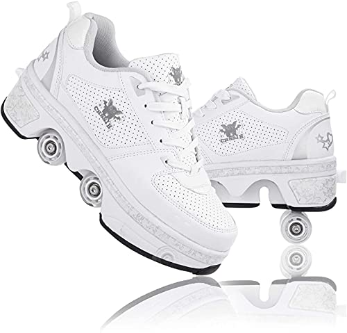 shoes with wheels for adults AMYMGLL Roller Skates for Women,Outdoor Skates for Adults and Children's,Shoes with Wheels,Kick Rollershoes Quad Roller Shoes,Outdoor Recreation Multifunctional 2 in 1,White-5.5US