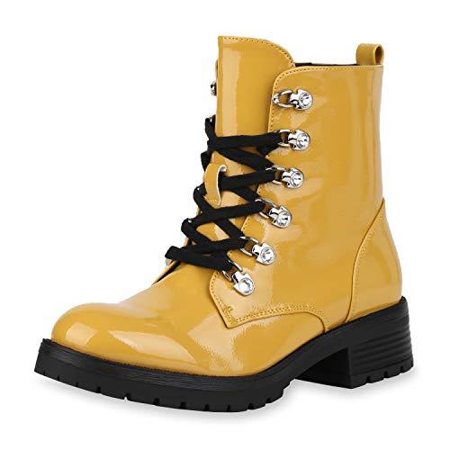 SCARPE VITA Damen Stiefeletten Worker Boots Leicht Gefütterte Lack Schuhe Schnürer Profilsohle Schnürstiefeletten Strass 186798 Gelb Lack 37
