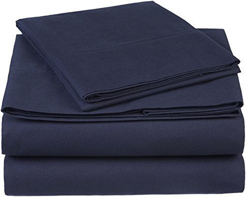 Pinzon 300 Thread Count Organic Cotton Bed Sheet Set - Twin, Navy Blue