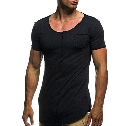 T-Shirts,Honestyi 2018 Neueste Modell Herren Klassisches Basic T-Shirt Einfarbig Gemütlich Kurzarm-Shirts Yoga T-Shirts mit Rundhalsausschnitt Sweatshirts blusen Oversize M-XXXL (XL, Schwarz)