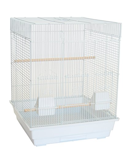 "YML A5824 3/8"" Bar Spacing Square Top Small Bird Cage, White, 18"" x 14"""