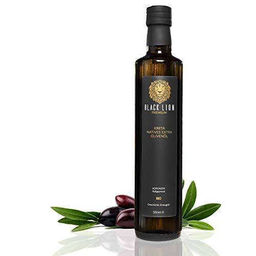 KRETA Premium Bio Olivenöl Kaltgepresst | griechisches EXTRA NATIVES Öl (Vergine) | zum Kochen / Braten - mild, fruchtig | GRIECHENLAND | Black Lion | 100% Koroneiki - Oliven | GESCHENK | 500ml