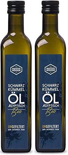 Schwarzkümmelöl BIO 1000ml (2x 500ml) | UNGEFILTERT - ägyptisch - kaltgepresst - nativ | ungefiltertes Schwarzkümmelöl aus kontrolliert biologischem Anbau von native goods