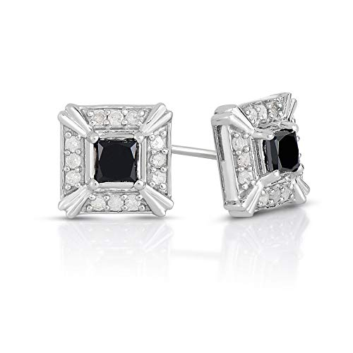 NATALIA DRAKE 1 Cttw White Halo Princess Cut Black Diamond Stud Earrings for Men or Women in Rhodium Plated Sterling Silver ( Color IJ / Clarity I1-I2)