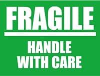 SK-057 FRAGILE 荷造りステッカー大 スーツケースや機材ケースに! (GREEN)