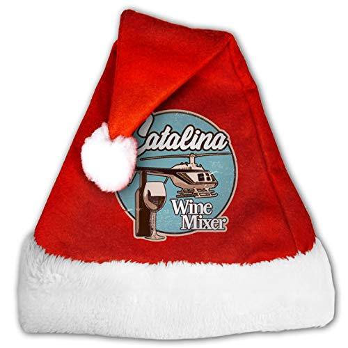 BSUUJCGF Catalina Wine Mixer Christmas Hat,Fit for Adult Children Plush Trim Santa Hat for Christmas