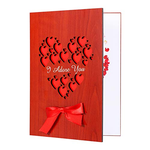 NUOBESTY Tarjeta de Madera Grabable Hecha a Mano con Corazón, Tarjeta de Felicitación para el Aniversario, Bodas, Cumpleaños del Día de San Valentín, Tarjeta de Aniversario con Caja de Regalo