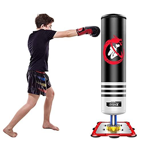 Dripex Saco Boxeo Niños, Saco de Boxeo de Pie Niños Profesional, No Hinchable, con Base de Succión, para Practicar Karate MMA Kick Boxing Bolsa de Boxeo Fitness para Niños(Negra)