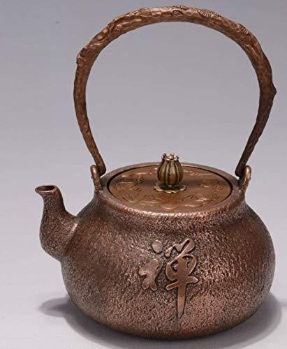 Tetera Cobre púrpura Caldera Caldera de Cobre Gruesa Mano el crisol de Cobre Copper Pot Japón Durable (Color: como se Muestra, Tamaño: 1200 ml), Tamaño: 1200 ml, Color: como se Muestra