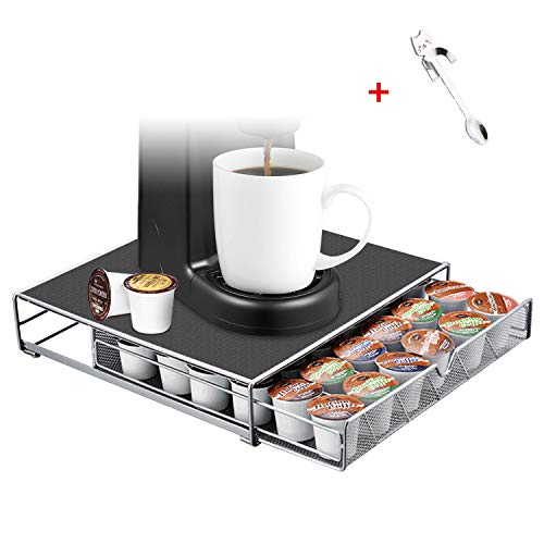 FITNATE Coffee Drawer for Kcup Coffee Storage Organizer for 36 KCup with a Rack Mat for most Coffee K Cup Pods or Tea and Coffee Makers132x126x3 inches