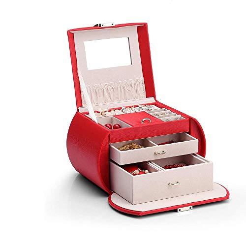 WNN - URG - Joyero de gran volumen con espejo, caja de almacenamiento, piel sintética y madera de 3 capas, para pulseras, pendientes, anillos, collares, URG