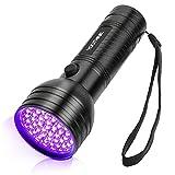 Linterna UV con 51 LED, Detector Ultravioleta de 395 nm para Detectar Orina de Mascotas en Alfombra, Flashlight Portable para Manchas de Cocinas, Caza Escorpión [Clase de eficiencia energética A]