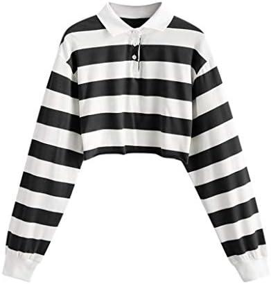 Women Teen Girls Fashion Turn down Collar Crop Top Sweatshirt Long Sleeve Color Block Pullover product image