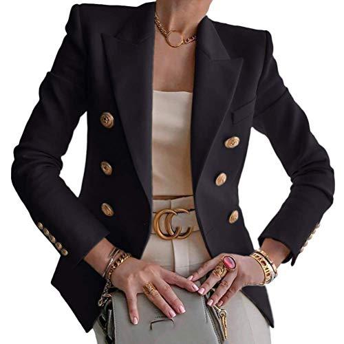 Tomwell Blazer Damen Elegant Langarm Blazer Sakko Einfarbig Slim Fit Revers Geschäft Büro Jacke Kurz Mantel Anzugjacke Schick Knopf Kurz Blazerjacke (L, A Schwarz)