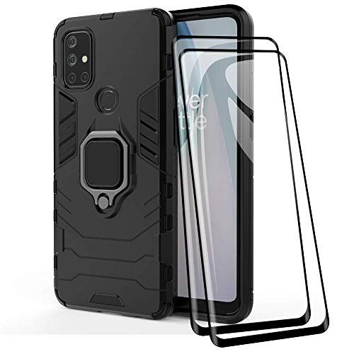 TANYO Hülle + Bildschirmschutz [2 Stück] für OnePlus Nord N10 5G, TPU/PC Hybrid Stoßfest Armor Bumper Handyhülle [360° Kickstand] mit Panzerglas Schutzfolie, Schwarz