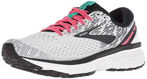 Brooks Womens Ghost 11 Running Shoe - White/Pink/Black - B - 10.5