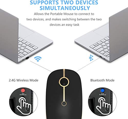 Jelly Comb Bluetooth Kabellose Maus, Dual Mode(2,4 G+Bluetooth) Kabellose Maus, 3 DPI, stille Optische Maus für Laptop/PC/MacBook Pro/Tablet/iPad, Schwarz+Gold