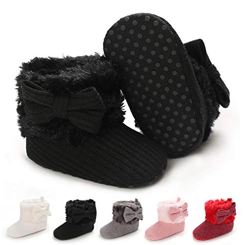 Infant Boots Winter Baby Girl Boy Shoes Rubber Sole Anti-Slip Toddler Snow Warm Prewalker Newborn Boots(12-18 Months M US Toddler,A-Black)