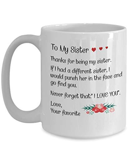 N\A Regalos de Hermana para mi Taza de Hermana La Mejor Hermana Mayor de Todos los Tiempos Tazas de café Taza Divertida y Barata Cumpleaños Hermanos Idea para Ella Menor de 20 años