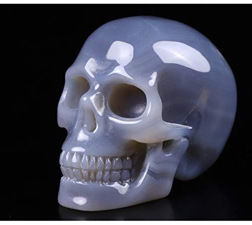 Skullis 2.0' Grey Agate Crystal Skull, Hand Carved Gemstone Fine Art Sculpture, Reiki Healing Stone Statue.