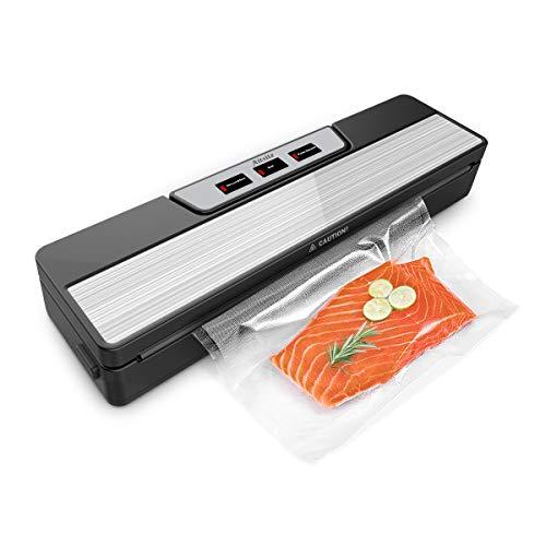 Aitsite Vakuumiergerät, Vakuumierer für Sous Vide Kochen und Trockene & Feuchte Lebensmittel, Lebensmittel bleiben vakuumiert bis zu 8x länger frisch, 10 Vakuumbeutel und Vakuumschlauch Inklusive