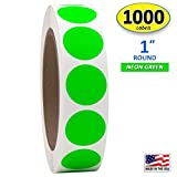 1' Neon Green Round Color Coding Circle Dot Labels on a Roll, 1000 Stickers, 1 inch Diameter.
