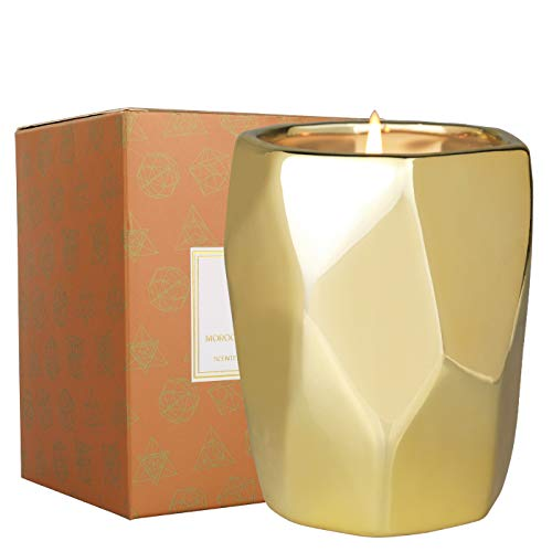 La Jolíe Muse Vela marroquí perfumada de ámbar y pachulí, Vela de Soja Natural para el hogar, 60-80 Horas de duración de la Vela de cerámica de Regalo, 10oz