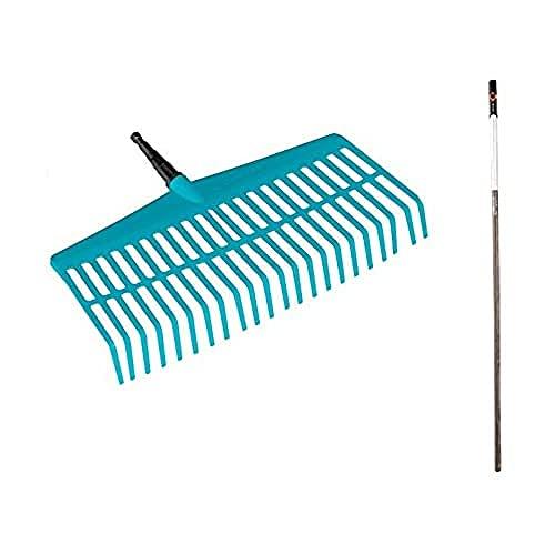 Gardena combisystem-Rechenbesen-Aktion: Laubrechen aus hochwertigem Kunststoff, rasenschonend, Holzstiel aus FSC 100%-zertifiziertem Holz, Arbeitsbreite 43 cm (3020-23)