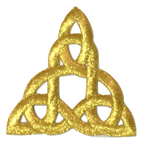 Patch Portal Celtic Knot Embroidered Applique Trinity Stencil Triquetra Iron on Patches Irish Gothic Gold Color Size 3 Inches