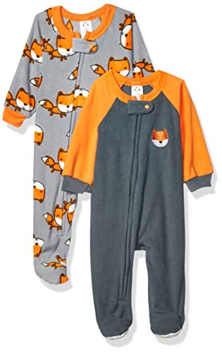 Gerber Manta para bebé (2 Unidades), Naranja/Zorro Gris, 6-9 Meses