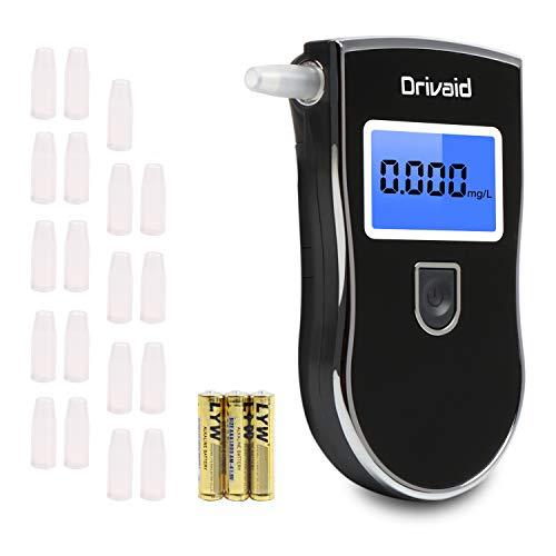 Drivaid Alcootest Ethylotest electronique, Portable Numérique avec Ecran LCD d'Affichage, alcotest numerique homologué Haute Sensibilité avec 20 Embouchures et 3AAA Batterie