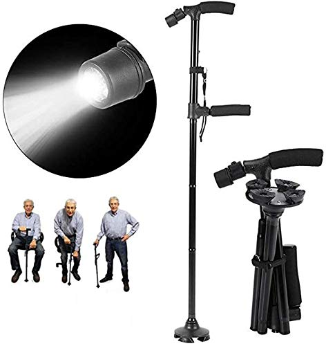 Easy Sit & Stand Up Cane/ Double Handle Walking cane with Flashlight
