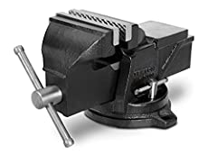 Cast iron construction (30, 000 PSI tensile strength) with replaceable serrated steel jaws holds work with a sure, nonslip grip 120-Degree swivel base with dual lock-down nuts positions workpiece where you need it Three mounting holes anchor vise sec...