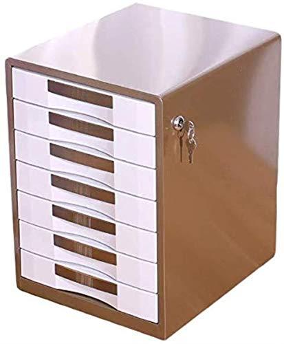 Bestand Kasten 7 Laden Metalen Ladekast Unit Office benodigdheden Papier Sorter Kast Opslagbeheer (Blauw, Goud) Vergrendelen Opbergdoos B