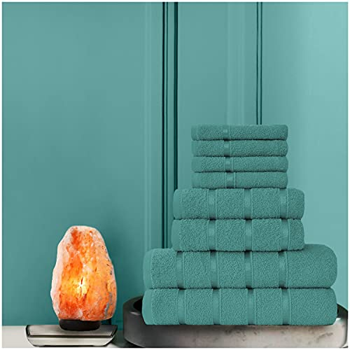 Gaveno Cavailia - Set di 8 asciugamani Boston (4 facce, 2 mani e 2 bagni), cotone, colore: foglia di tè