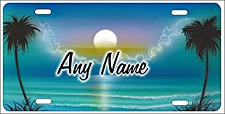 ATD Personalized Airbrushed Turquoise Blue Beach Scene Novelty License Plate Custom Decorative Airbrush Front Plate