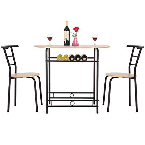 Giantex – Set Mobili per Sala da Pranzo con Un Ripiano, Tavolo da Cucina in Legno e Acciaio con 2 Sedie, Moderno (Naturale)