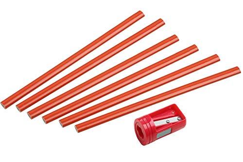 CON:P Zimmermannsbleistift-Set 7-teilig-6 Bleistifte & 1 Anspitzer-175 mm Länge-Ovale Form-Mittlere Härte-Ideal zum Anzeichnen & Markieren/Markierungswerkzeug/Baubleistift / B26327