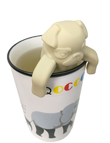 QOCOO 2 Pack FDA Standard Food Grade Silicone Tea Filter Cute and Funny Animal Pug Shape Tea Infuser Strainer for Mug or Cups to Make Loose Leaf Tea Bag Tea Green Tea Herbal Weight Loss Tea Beige