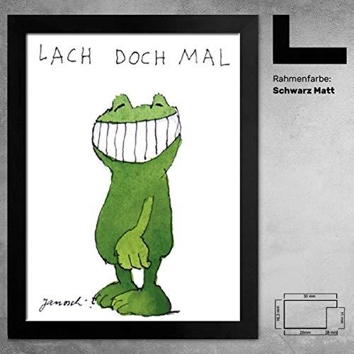 Kunstdruck Poster Janosch Lach doch mal Bild 30 x 40 cm mit Bilderrahmen Monaco Farbe Schwarz Matt und Acrylglas entspiegelt 1 mm