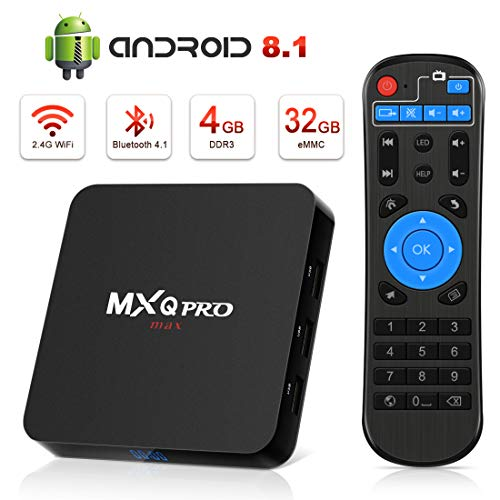 Android 8.1 TV Box [4GB RAM+32GB ROM], Android TV Box 4K, USB 3.0, BT 4.0, UHD H.265, HDMI, Smart TV Box Quad Core WiFi Media Player, Box TV Android