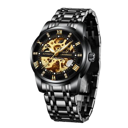 Men's Watch, Black Mechanical Stainless Steel Skeleton Waterproof...