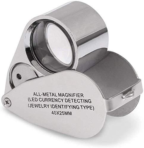 Taoke 40x Glas mit 2 und UV-Lampen for Münzen Schmuck Bewertung Banknote Detector Mini Folding Metall Lupe TYTTUU