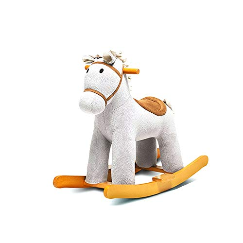 Baby rocking horse,wooden horse rocking horse, swan rocking horse, plush zebra rocking horse, suitable for babies from one to 3 years old, toddler toys, animal rocking horse,white plush rocking horse,