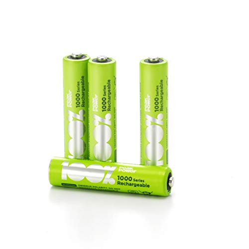 100{4f2daca947eb7073d92ff646f9a205f4857891e767ddbd64a1db546e85ee08a1} PeakPower Akkus AAA, Serie 1000 (min. 800mAh), NiMH, 4 Stück Akku-Batterien wiederaufladbar, 1,2 Volt (1,2V), Ready-to-Use, ideal für schnurlose Telefone