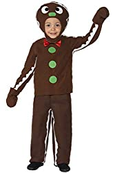 """Includes Little Gingerbread Man Costume, Brown, with Top, Trousers & Headpiece Age 4-6, Waist 21.5-22.5"""" / Chest 23-25"""" / Height 46-51"""" All our children's costumes are tested to both EN71 and Nightwear (Safety) standards. This is to provide complete ..."""