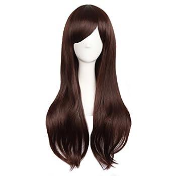 MapofBeauty 28 /70cm Women Side Bangs Long Curly Hair Cosplay Wig Dark Brown