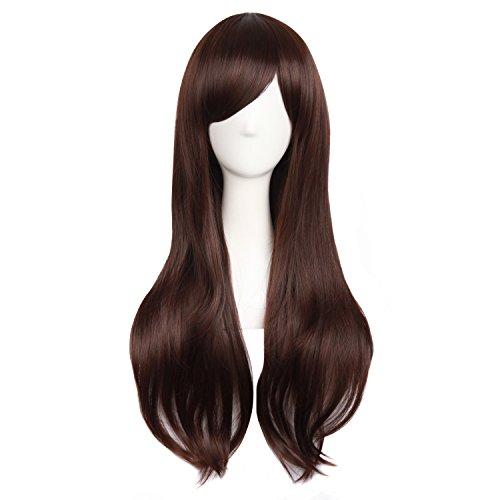 """MapofBeauty 28""""/70cm Women Side Bangs Long Curly Hair Cosplay Wig(Dark Brown)"""