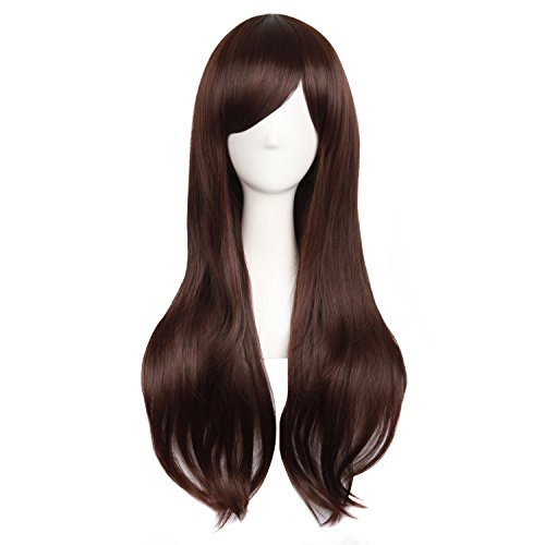 MapofBeauty 28'/70cm Women Side Bangs Long Curly Hair Cosplay Wig(Dark Brown)