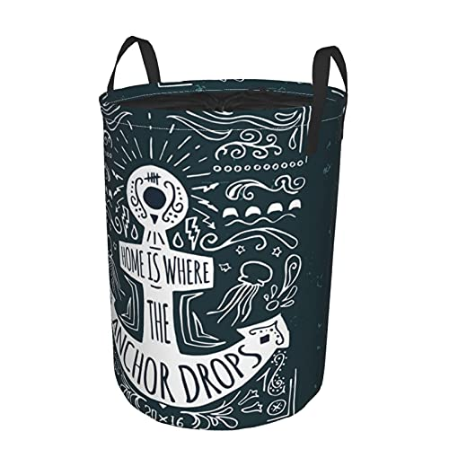 Storage Basket,Anchor Hand Drawn Hipster Label Print,Collapsible Large Laundry Hamper with Handles 19'X14'